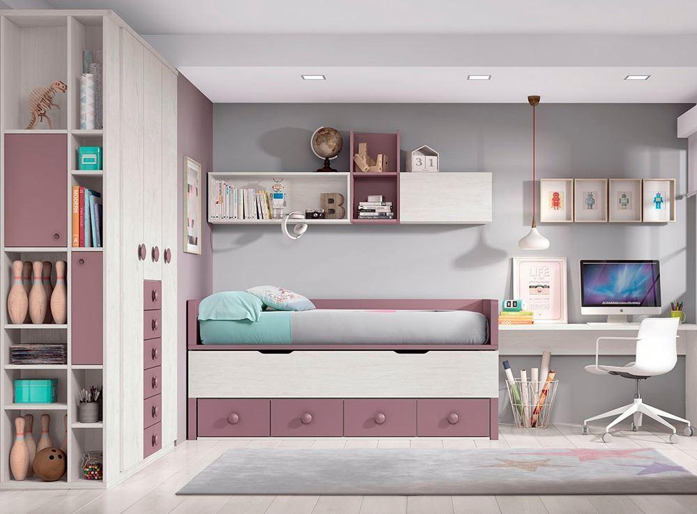 Habitaci n juvenil con cama compacta for Muebles nicolau
