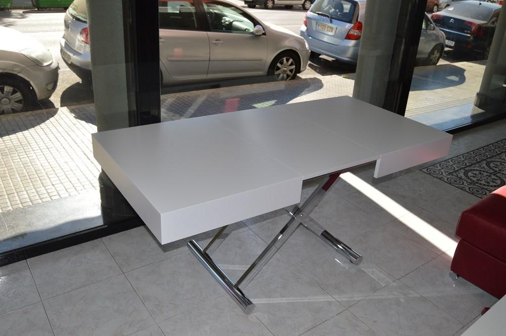 Mesa de centro convertible en mesa de comedor de 120x80 - Mesa centro convertible ...
